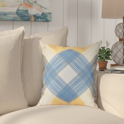 Hancock String Art Geometric Print Outdoor Throw Pillow Size: 18 H x 18 W, Color: Yellow