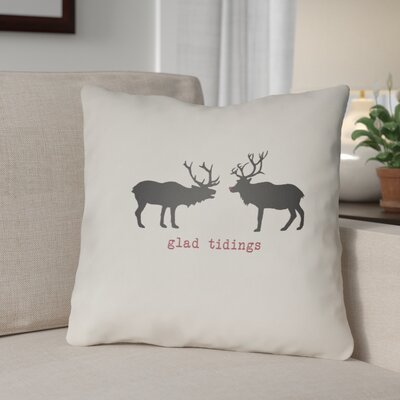 Glad Tidings Indoor/Outdoor Throw Pillow Size: 18 H x 18 W x 4 D, Color: White / Black / Red
