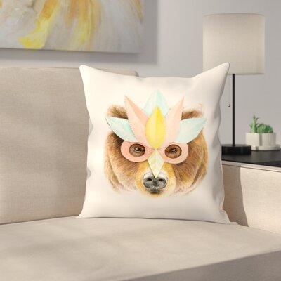 Florent Bodart Bear Paper Mask Throw Pillow Size: 16 x� 16