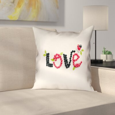 Buoi Love and Berries Square Linen Double Sided Print Pillow Cover Size: 14 x 14