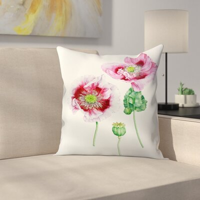 Mauve Poppy Throw Pillow Size: 14 x 14