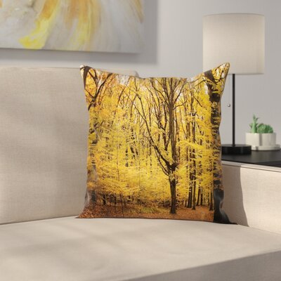 Forest Autumn in Nature Theme Square Pillow Cover Size: 16 x 16