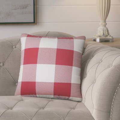 Pompa Plaid Cotton Throw Pillow Color: Chili