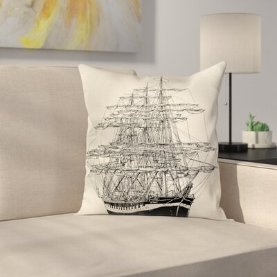 Pirate Ship Sail Boat Vintage Square Cushion Pillow Cover Size: 24 x 24