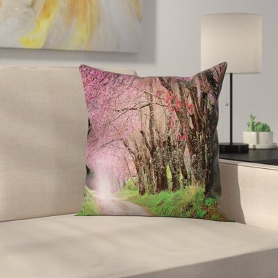 Japanese Cherry Blossom Road Pillow Cover Size: 24 x 24