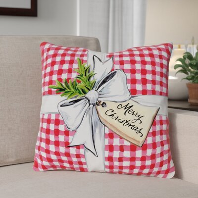 Plaid Present Throw Pillow Size: 16