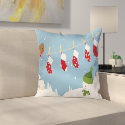 Christmas Socks Hanging Bird Square Pillow Cover Size: 16 x 16