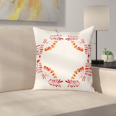 Artistic Leaves Fruits Square Pillow Cover Size: 18 x 18