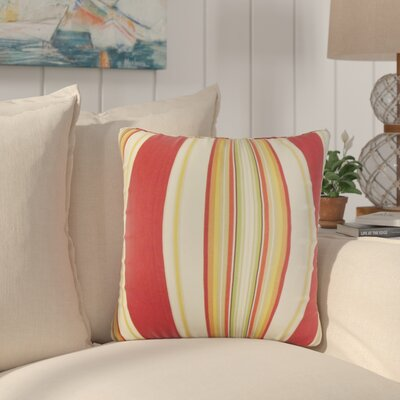 Afrin Stripes Cotton Throw Pillow Color: Red