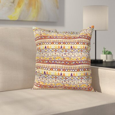 Primitive Decor Mexican Ethnic Square Pillow Cover Size: 18
