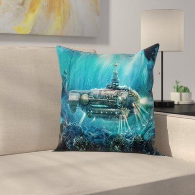Turquoise Case Fantastic Submarine Square Pillow Cover Size: 16 x 16