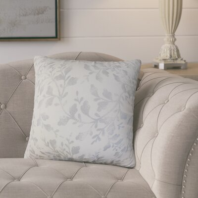 Mari�rio Foliage Cotton Throw Pillow Color: Silver