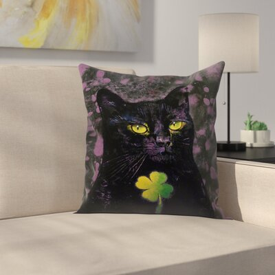 Michael Creese Cat Shamrock Throw Pillow Size: 18