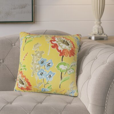 Hepatique Floral Cotton Throw Pillow Color: Gold