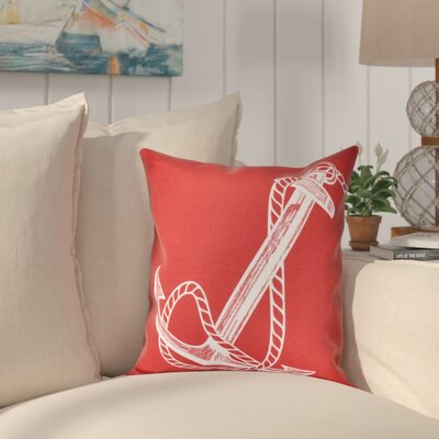 Hancock Anchored Geometric Print Outdoor Throw Pillow Size: 20 H x 20 W, Color: Red