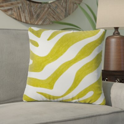 Steele Zebra Cotton Throw Pillow Color: Chartreuse