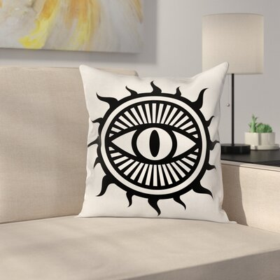 Occult Eye in Sun Symbol Square Pillow Cover Size: 16 x 16