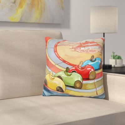 Retro Toy Race Cars Throw Pillow