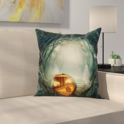 Halloween Decor Scary Pumpkin Square Pillow Cover Size: 24 x 24