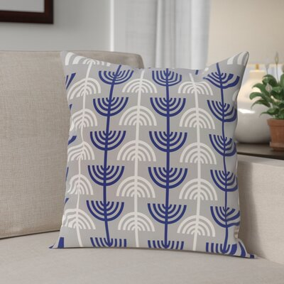 Holiday Geometric Print Menorah Abstract Throw Pillow Size: 26 H x 26 W, Color: Grey