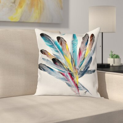 Retro Case Feathers Old Pen Square Pillow Cover Size: 24 x 24