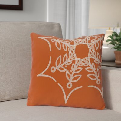 Spider Web Outdoor Throw Pillow Color: Orange