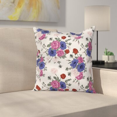 Anemone Corsage Square Cushion Pillow Cover Size: 16 x 16