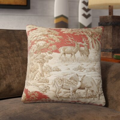 Ashcraft Toile Front Cotton Throw Pillow Color: Redwood Front, Size: 18 x 18