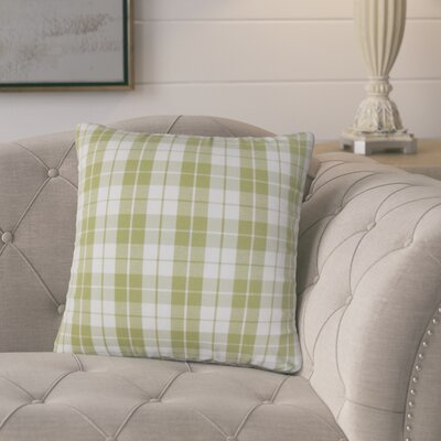 Schwaller Plaid Cotton Throw Pillow Color: Sage