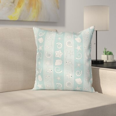 Sea Animals and Shells Square Pillow Cover Size: 16 x 16