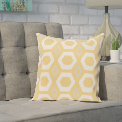 Brockley Geometric Print Throw Pillow Size: 16 H x 16 W x 1 D, Color: Lemon