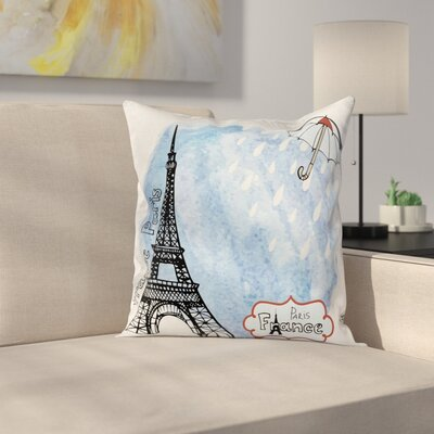 Eiffel Tower Decor French Icon Square Pillow Cover Size: 18 x 18