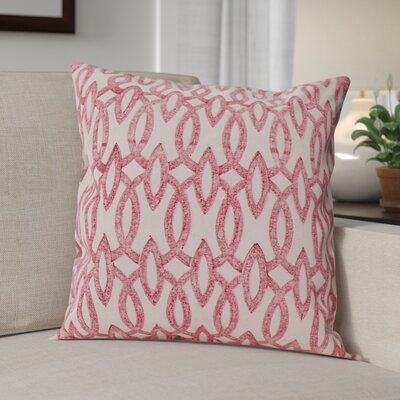 Deiana Printed 100% Cotton Throw Pillow Color: Red, Set of: 2
