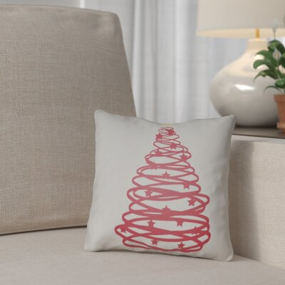 Winter Tree Outdoor Throw Pillow Size: 18 H x 18 W x 4 D, Color: Gray / Red / Yellow