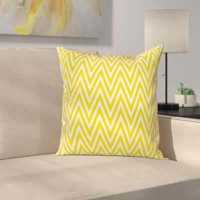 Chevron Modern Thin Line Square Cushion Pillow Cover Size: 18