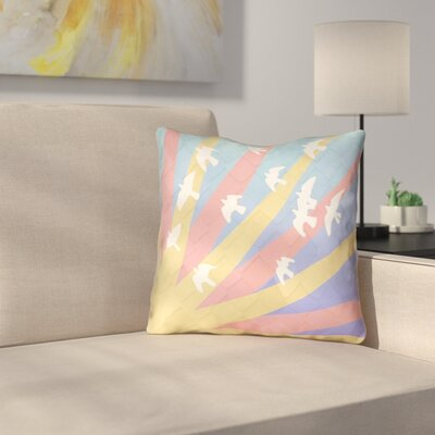 Kalie Birds and Sun Outdoor Throw Pillow Color: Yellow/Orange, Size: 18 H x 18 W