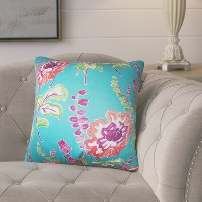 Hepatique Floral Cotton Throw Pillow Color: Peacock