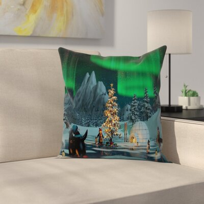 Penguins on Frozen Lake Cushion Pillow Cover Size: 20 x 20