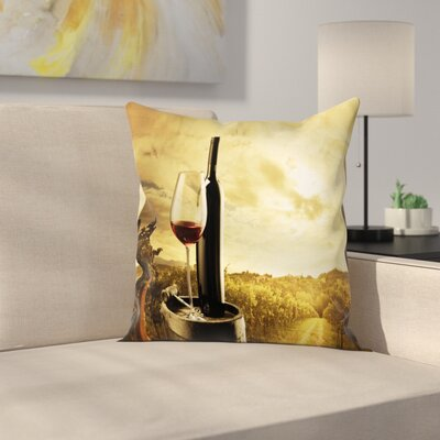 Wine Wine Barrel Vineyard Square Pillow Cover Size: 16 x 16