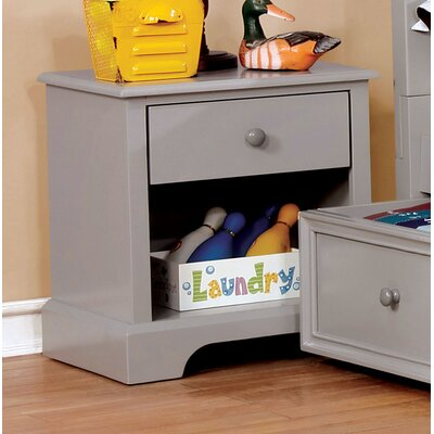Evanoff 1 Drawer Nightstand Color: Gray