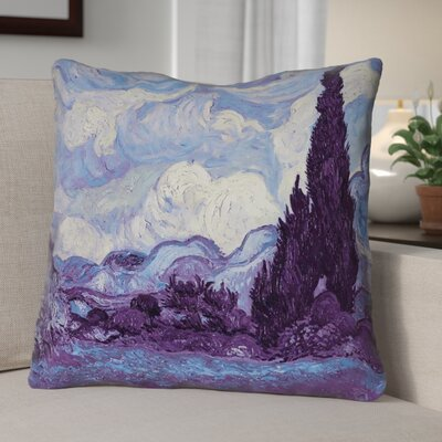 Morley Wheatfield with Cypresses Outdoor Throw Pillow