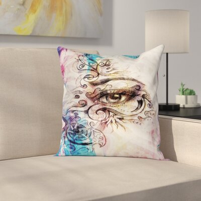 Fabric Woman Eye Grungy Retro Square Pillow Cover Size: 16