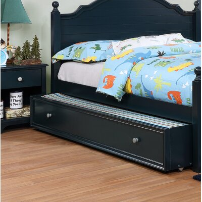 Evanoff Transitional Trundle Unit Bed Frame Color: Blue