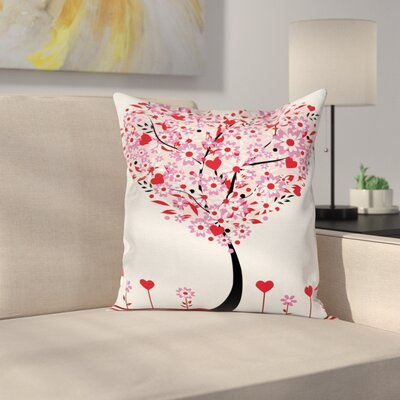 Heart Shaped Tree Square Pillow Cover Size: 18 x 18