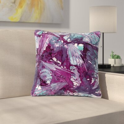 Ebi Emporium Birds Outdoor Throw Pillow Size: 18 H x 18 W x 5 D, Color: Blue/Purple