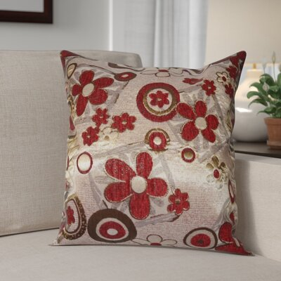 Merlene Daisy Decorative Pillow Cover Color: Burgundy / Gold