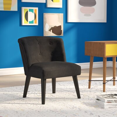 Crosier Plush Barrel Chair Upholstery: Black
