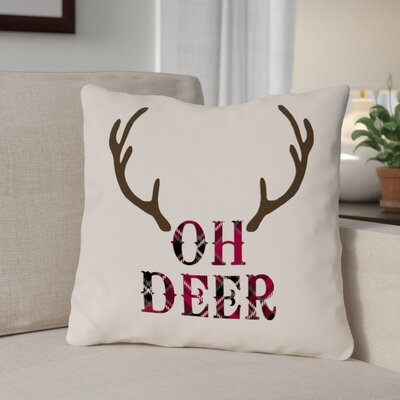 Oh Deer Antlers Throw Pillow Size: 16 x 16