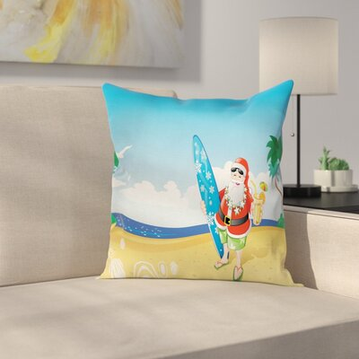 Christmas Santa on Beach Surf Square Pillow Cover Size: 18 x 18