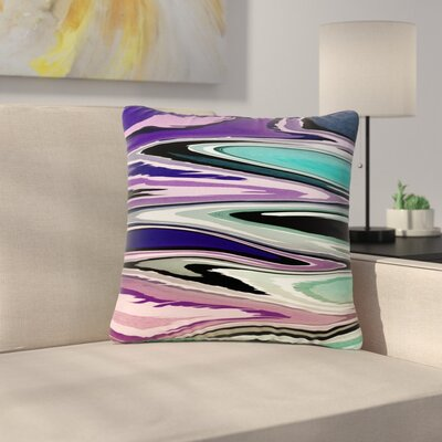 Nika Martinez Beach Waves Abstract Outdoor Throw Pillow Color: Purple, Size: 18 H x 18 W x 5 D